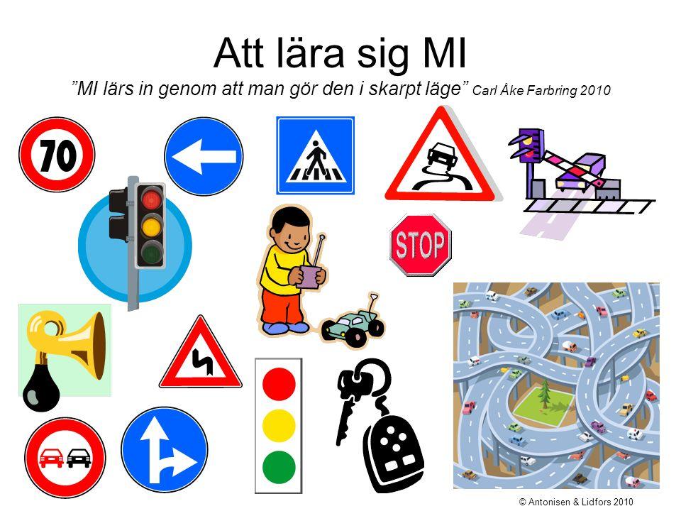Att lära sig MI MI lärs in genom att man gör den i skarpt läge Carl Åke Farbring 2010 © Antonisen & Lidfors 2010