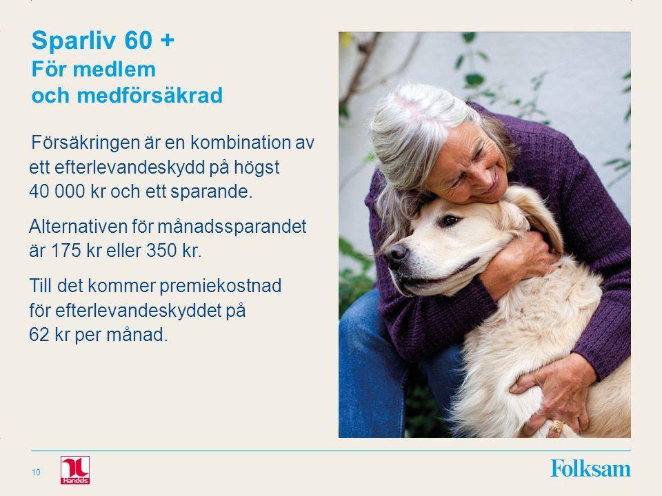 Innehållsyta Rubrikyta Sparliv 60 + För medlem och medförsäkrad Försäkringen är en kombination av ett efterlevandeskydd på högst 40 000 kr och ett sparande.
