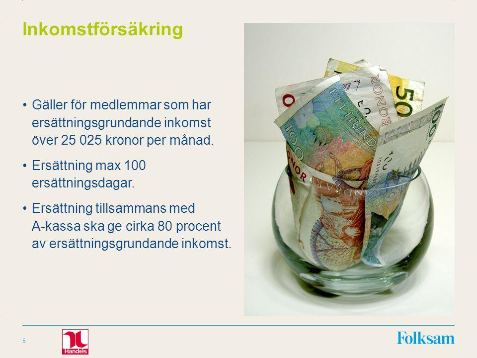 Innehållsyta Rubrikyta Inkomstförsäkring Gäller för medlemmar som har ersättningsgrundande inkomst över 25 025 kronor per månad.