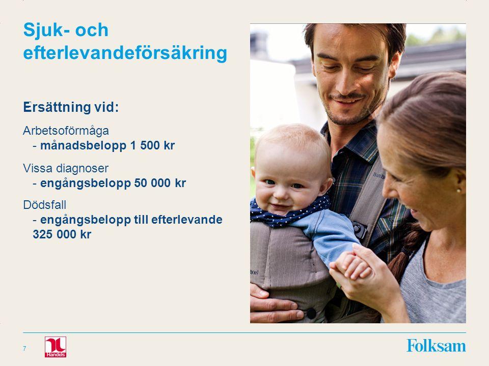 Innehållsyta Rubrikyta Sjuk- och efterlevandeförsäkring Ersättning vid: Arbetsoförmåga - månadsbelopp 1 500 kr Vissa diagnoser - engångsbelopp 50 000 kr Dödsfall - engångsbelopp till efterlevande 325 000 kr 7 :