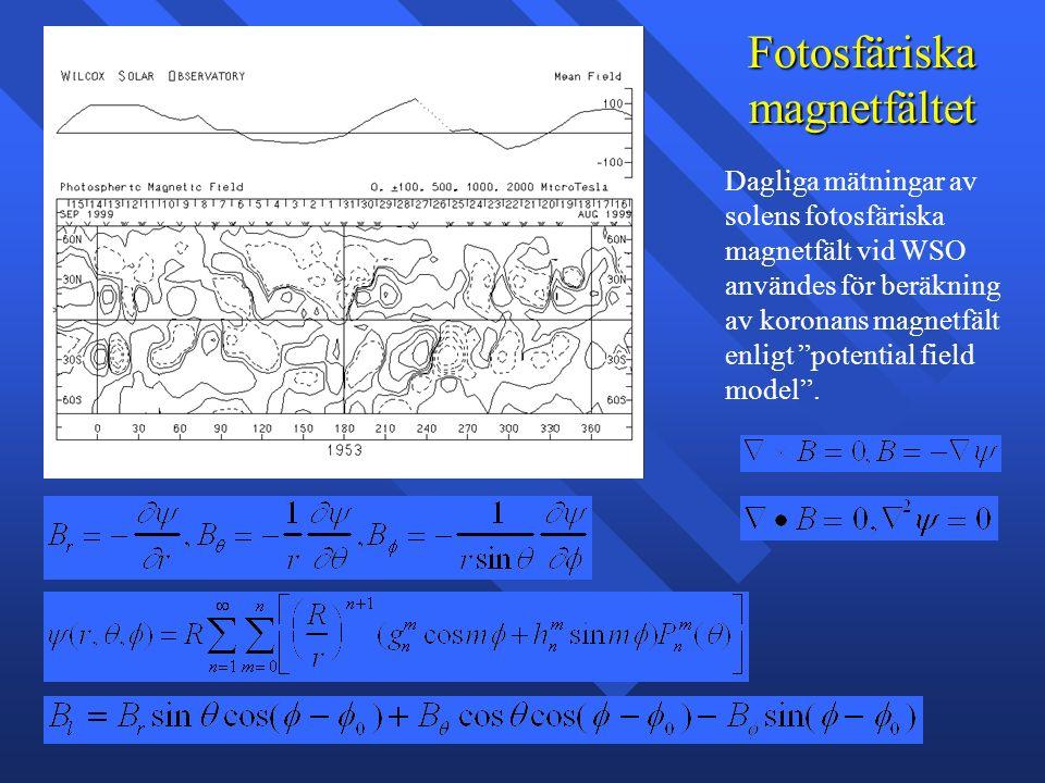Fotosfäriska magnetfältet Dagliga mätningar av solens fotosfäriska magnetfält vid WSO användes för beräkning av koronans magnetfält enligt potential field model .