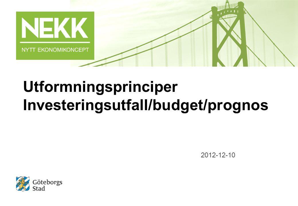 Utformningsprinciper Investeringsutfall/budget/prognos 2012-12-10