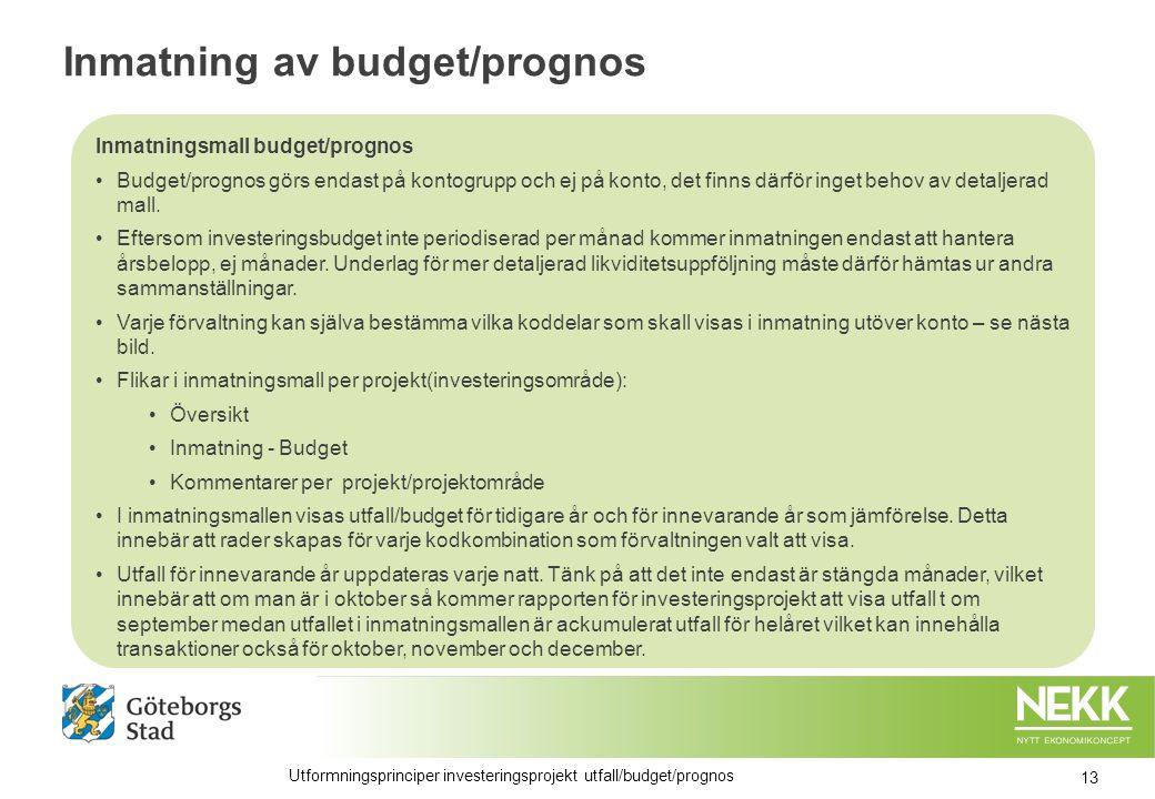 Inmatning av budget/prognos Inmatningsmall budget/prognos Budget/prognos görs endast på kontogrupp och ej på konto, det finns därför inget behov av detaljerad mall.