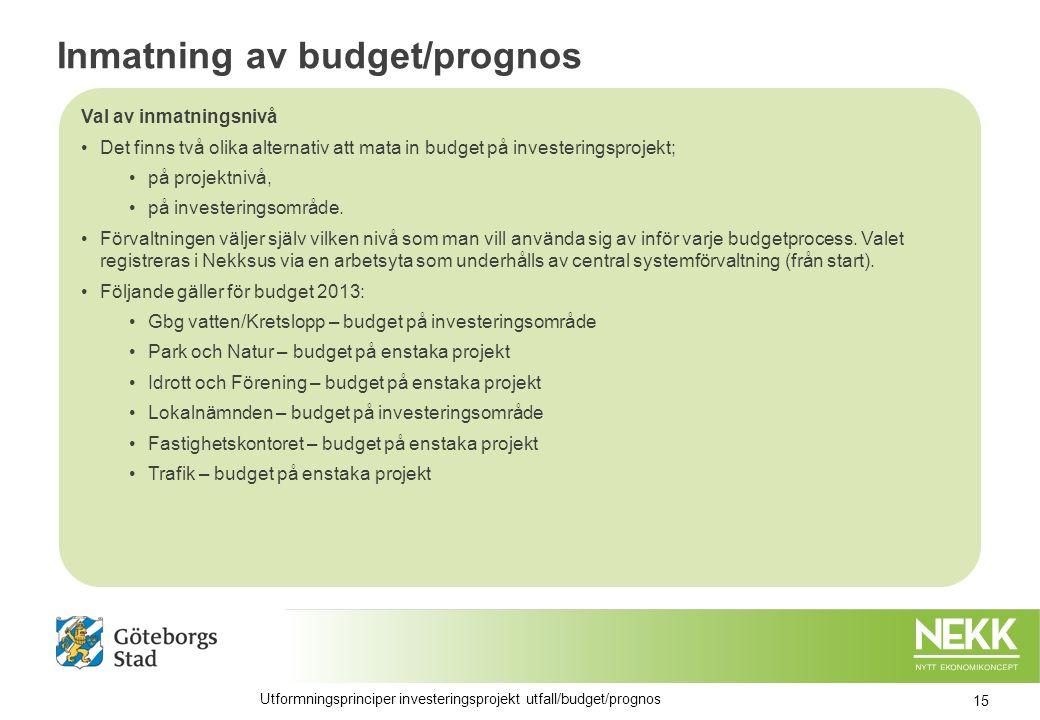 Inmatning av budget/prognos Val av inmatningsnivå Det finns två olika alternativ att mata in budget på investeringsprojekt; på projektnivå, på investeringsområde.