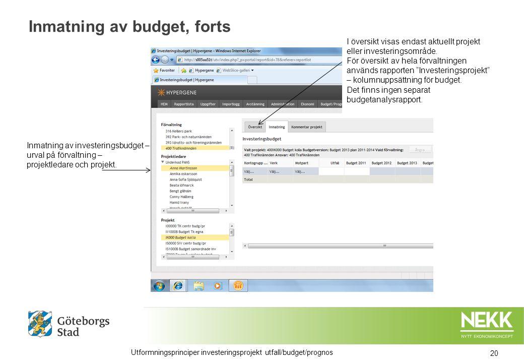 Utformningsprinciper investeringsprojekt utfall/budget/prognos Inmatning av investeringsbudget – urval på förvaltning – projektledare och projekt.