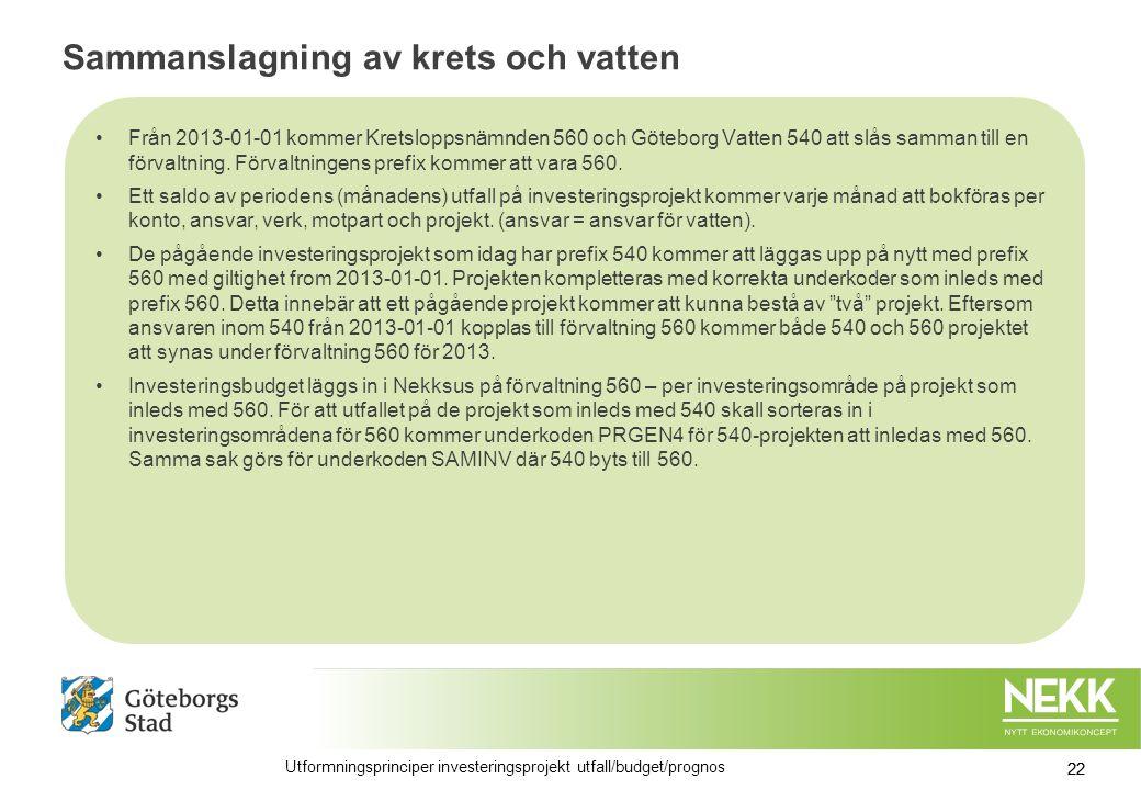 Sammanslagning av krets och vatten Från 2013-01-01 kommer Kretsloppsnämnden 560 och Göteborg Vatten 540 att slås samman till en förvaltning.