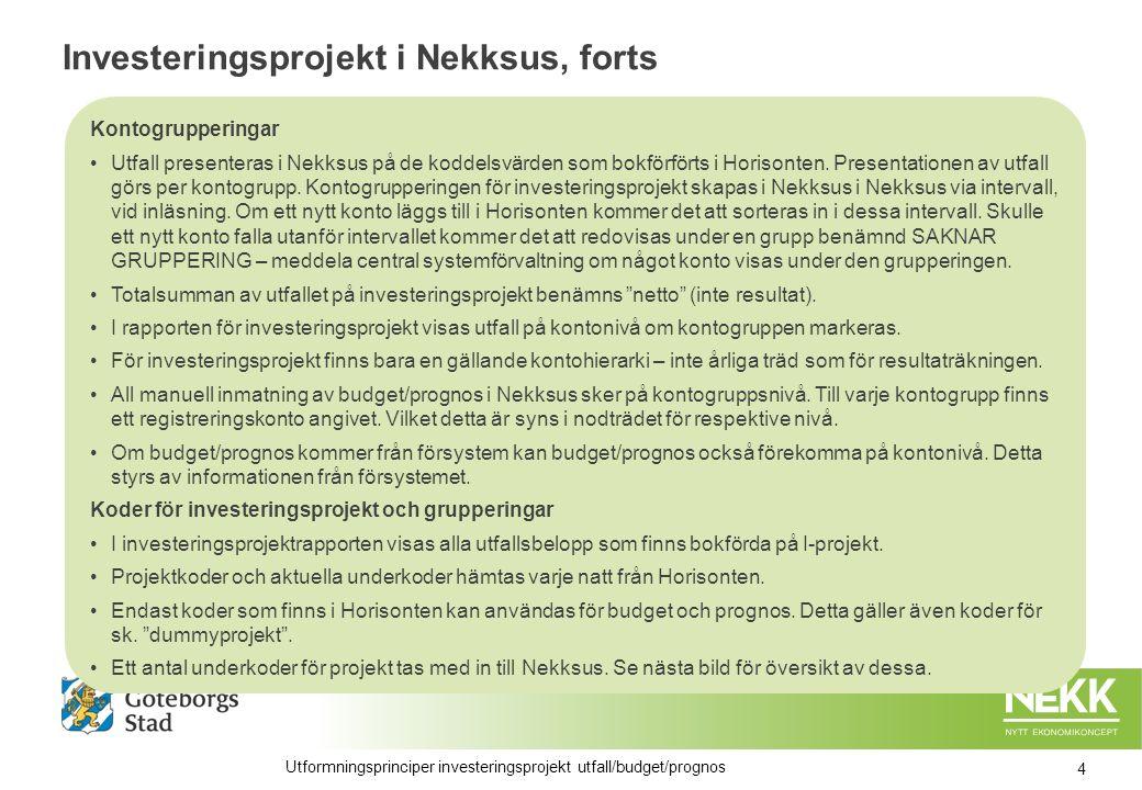 Investeringsprojekt i Nekksus, forts Kontogrupperingar Utfall presenteras i Nekksus på de koddelsvärden som bokförförts i Horisonten.
