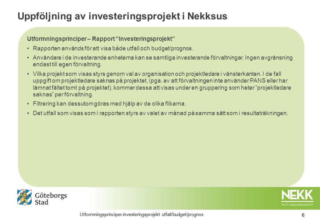 Uppföljning av investeringsprojekt i Nekksus Utformningsprinciper – Rapport Investeringsprojekt Rapporten används för att visa både utfall och budget/prognos.