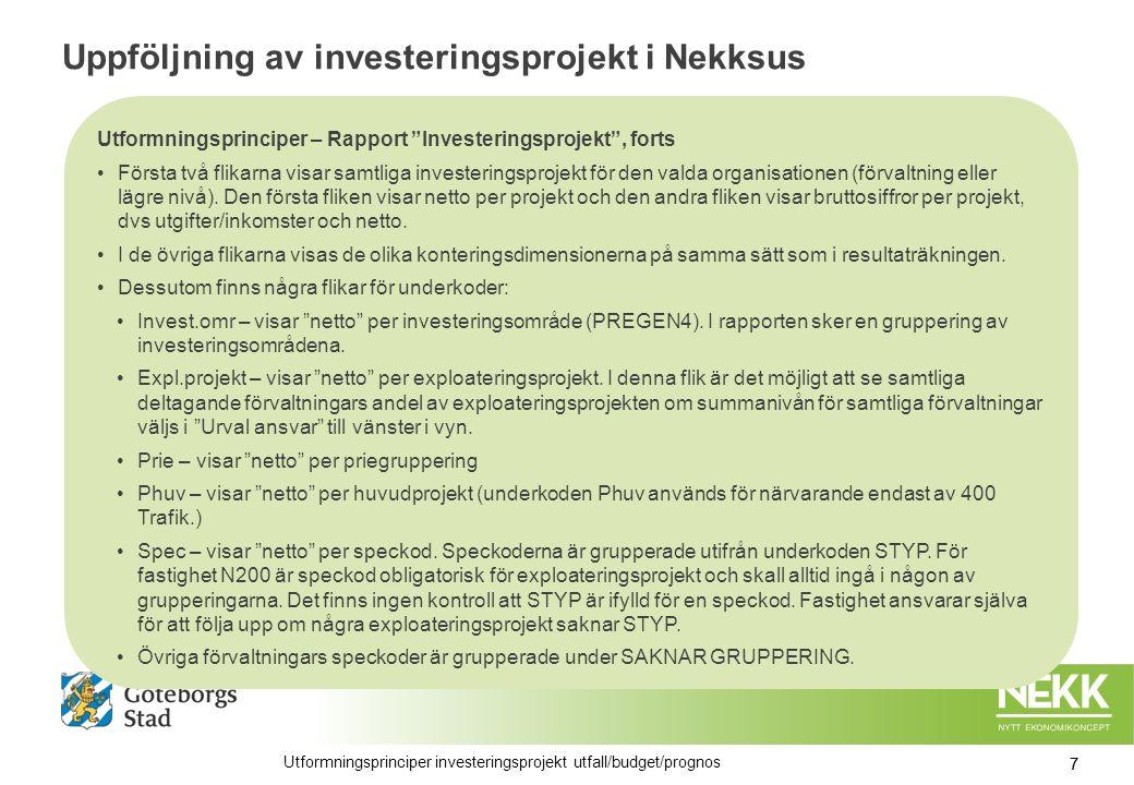 Uppföljning av investeringsprojekt i Nekksus Utformningsprinciper – Rapport Investeringsprojekt , forts Första två flikarna visar samtliga investeringsprojekt för den valda organisationen (förvaltning eller lägre nivå).