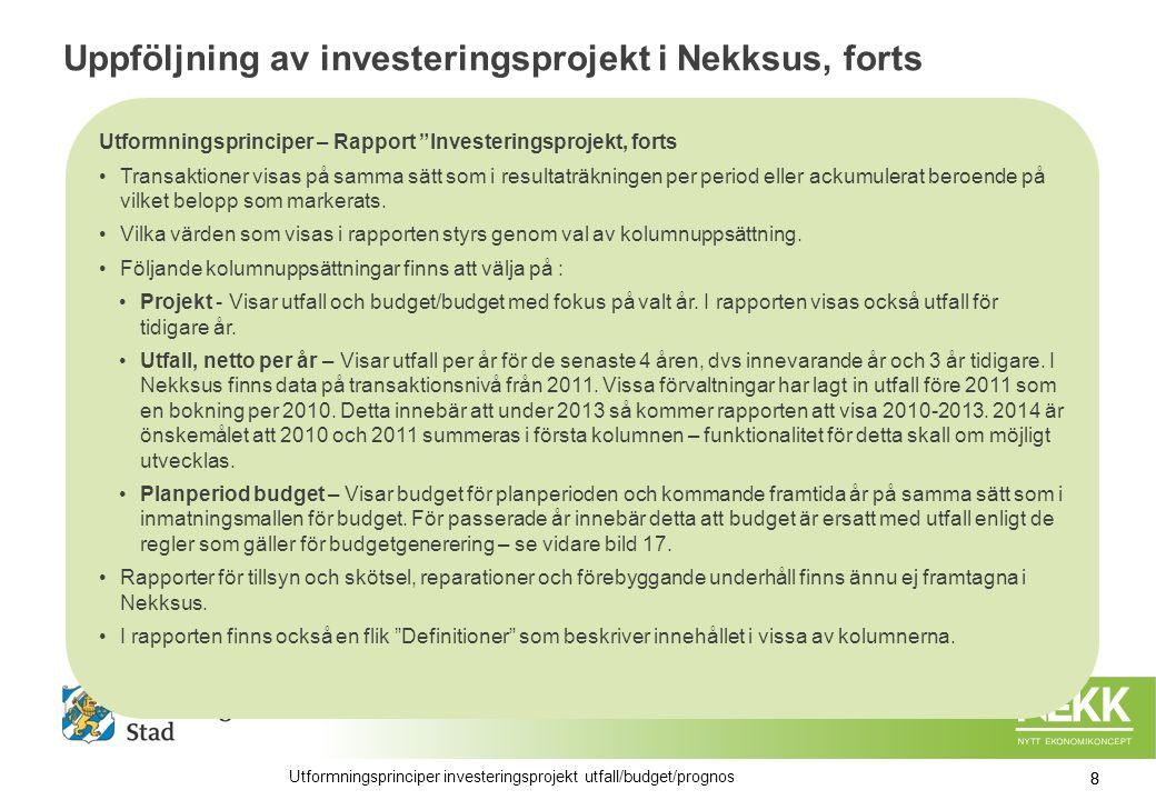 Uppföljning av investeringsprojekt i Nekksus, forts Utformningsprinciper – Rapport Investeringsprojekt, forts Transaktioner visas på samma sätt som i resultaträkningen per period eller ackumulerat beroende på vilket belopp som markerats.