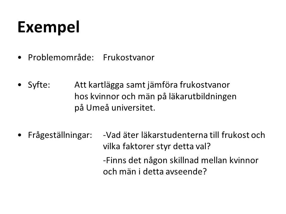 Exempel Problemområde: Frukostvanor Syfte: Att kartlägga samt jämföra frukostvanor hos kvinnor och män på läkarutbildningen på Umeå universitet.