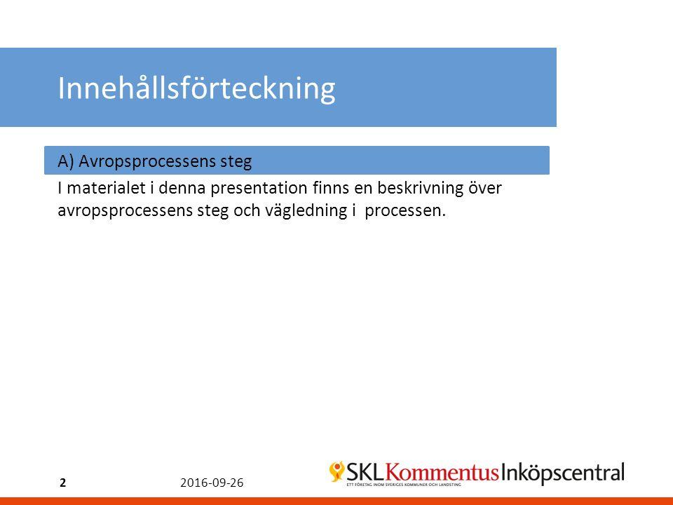 2016-09-262 Innehållsförteckning A) Avropsprocessens steg I materialet i denna presentation finns en beskrivning över avropsprocessens steg och vägledning i processen.