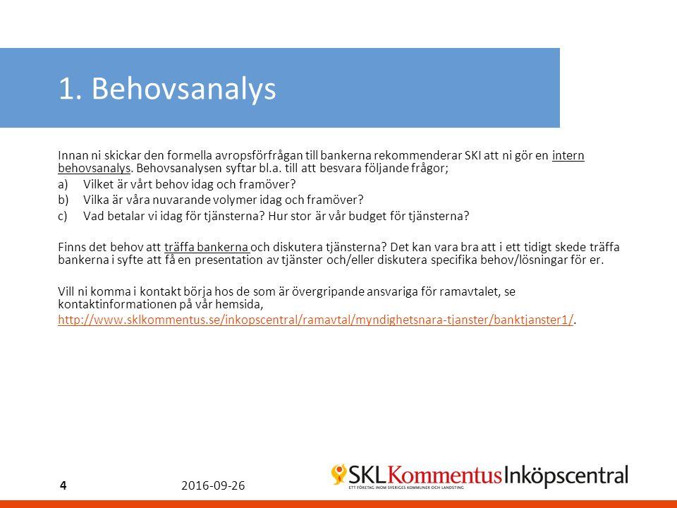 1. Behovsanalys Innan ni skickar den formella avropsförfrågan till bankerna rekommenderar SKI att ni gör en intern behovsanalys. Behovsanalysen syftar