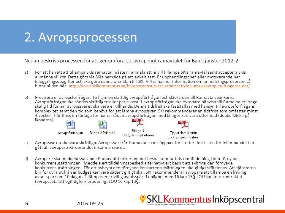 2. Avropsprocessen Nedan beskrivs processen för att genomföra ett avrop mot ramavtalet för Banktjänster 2012-2. a)För att ha rätt att tillämpa SKIs ra