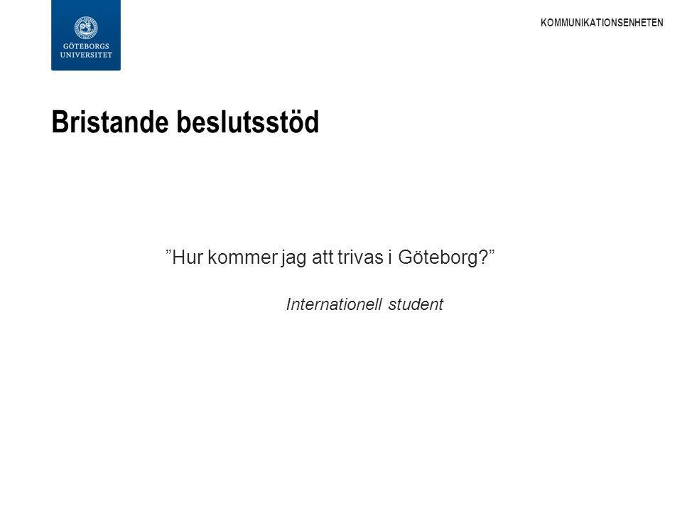 Bristande beslutsstöd Hur kommer jag att trivas i Göteborg Internationell student KOMMUNIKATIONSENHETEN