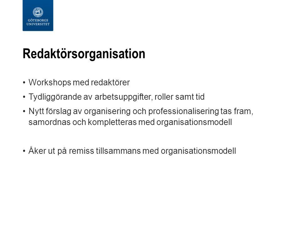 Redaktörsorganisation Workshops med redaktörer Tydliggörande av arbetsuppgifter, roller samt tid Nytt förslag av organisering och professionalisering tas fram, samordnas och kompletteras med organisationsmodell Åker ut på remiss tillsammans med organisationsmodell