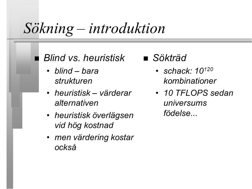Sökning - introduktion Alla söktekniker har för- och nackdelar Val beror på typ av träd: buskigt .