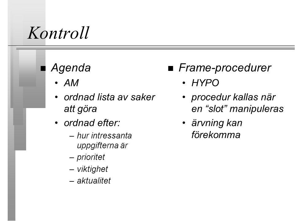 Kontroll Agenda AM ordnad lista av saker att göra ordnad efter: –hur intressanta uppgifterna är –prioritet –viktighet –aktualitet Frame-procedurer HYPO procedur kallas när en slot manipuleras ärvning kan förekomma