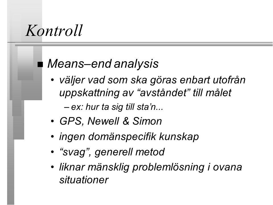 Kontroll Means–end analysis väljer vad som ska göras enbart utofrån uppskattning av avståndet till målet –ex: hur ta sig till sta'n...