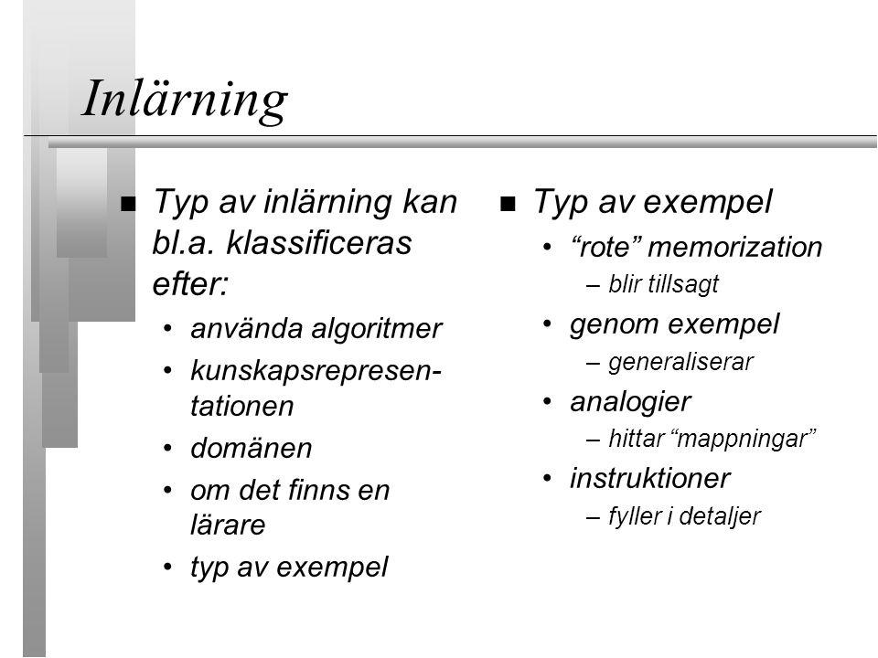 Inlärning Typ av inlärning kan bl.a. klassificeras efter: använda algoritmer kunskapsrepresen- tationen domänen om det finns en lärare typ av exempel
