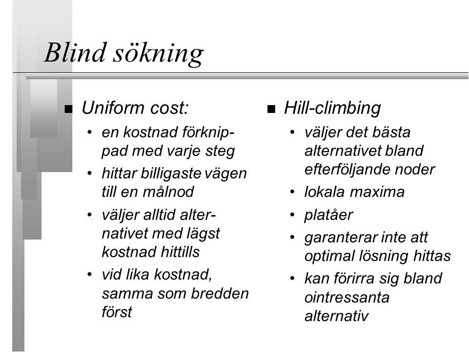 Blind sökning Uniform cost: en kostnad förknip- pad med varje steg hittar billigastevägen till en målnod väljer alltid alter- nativet med lägst kostna