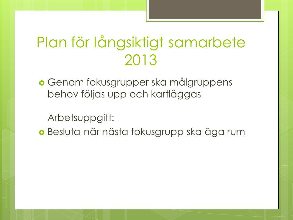 Plan för långsiktigt samarbete 2013  Genom fokusgrupper ska målgruppens behov följas upp och kartläggas Arbetsuppgift:  Besluta när nästa fokusgrupp ska äga rum