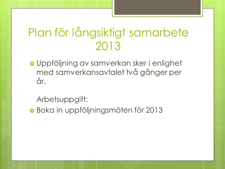 Plan för långsiktigt samarbete 2013  Uppföljning av samverkan sker i enlighet med samverkansavtalet två gånger per år.