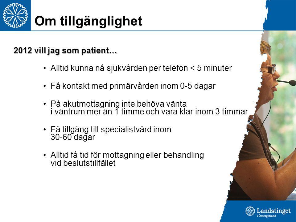 2012 vill jag som patient… Alltid kunna nå sjukvården per telefon < 5 minuter Få kontakt med primärvården inom 0-5 dagar På akutmottagning inte behöva