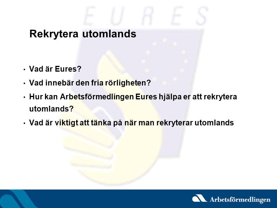 EURES – EURopean Employment Services Arbetsförmedlingens nätverk för europeisk samverkan på arbetsmarknaden –http://eures.europa.eu Mål: att underlätta den fria rörligheten genom att –informera, ge råd och vägledning till arbetssökande om att leva och arbeta i EU/EES-området –ge service till arbetsgivare som vill rekrytera utomlands