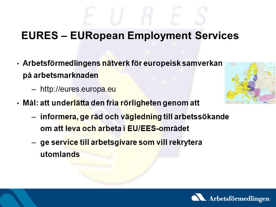 EURES – EURopean Employment Services Arbetsförmedlingens nätverk för europeisk samverkan på arbetsmarknaden –http://eures.europa.eu Mål: att underlätt