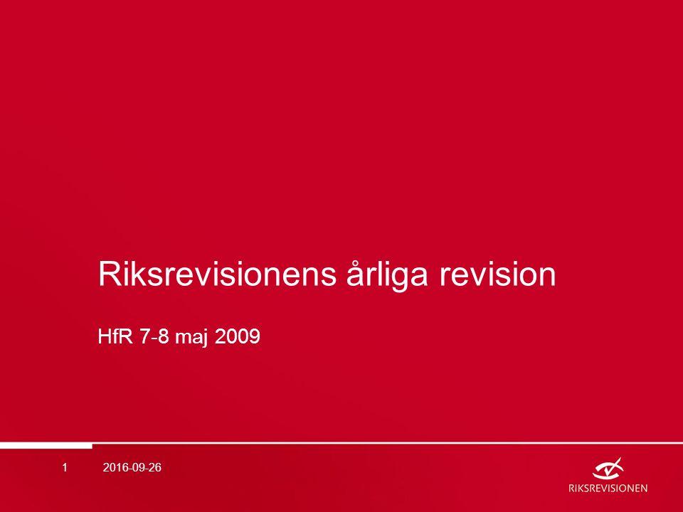 Innehåll  Ny uppdragsorganisation för årlig revision från 2009  Iakttagelser från granskning av årsredovisningar för 2008  Effektivitetsrevisionen 2016-09-262