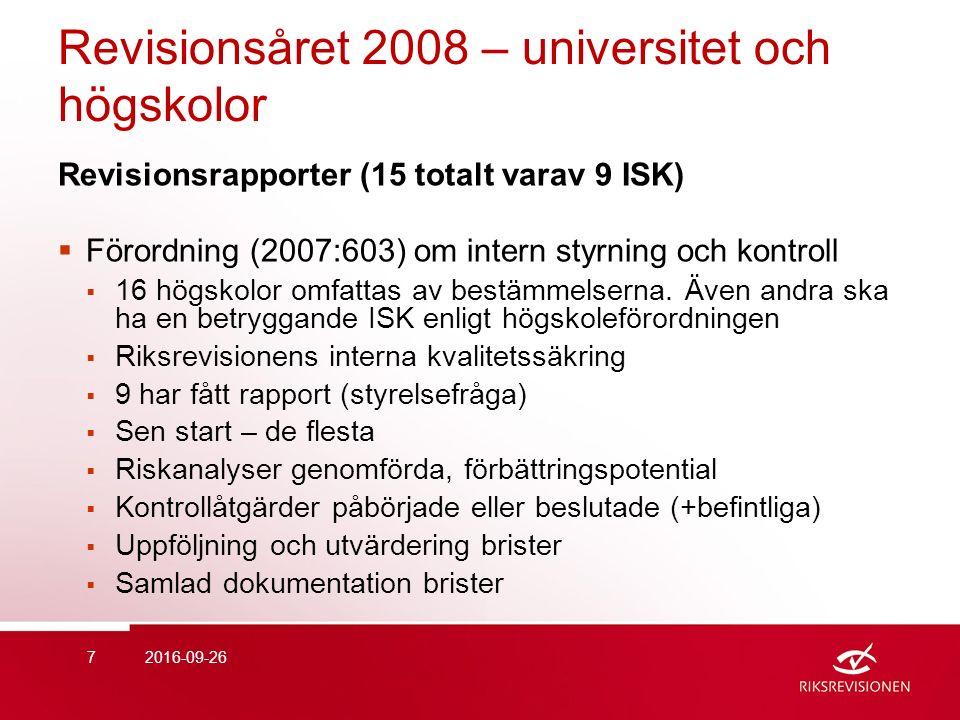 Revisionsåret 2008 – universitet och högskolor Revisionsrapporter (15 totalt varav 9 ISK)  Förordning (2007:603) om intern styrning och kontroll  16 högskolor omfattas av bestämmelserna.