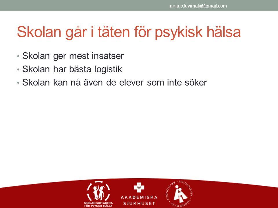 Skolan går i täten för psykisk hälsa Skolan ger mest insatser Skolan har bästa logistik Skolan kan nå även de elever som inte söker anja.p.kivimaki@gmail.com