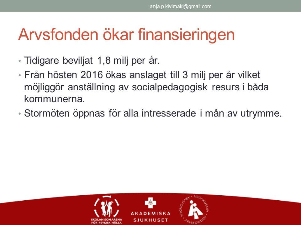 Arvsfonden ökar finansieringen Tidigare beviljat 1,8 milj per år.