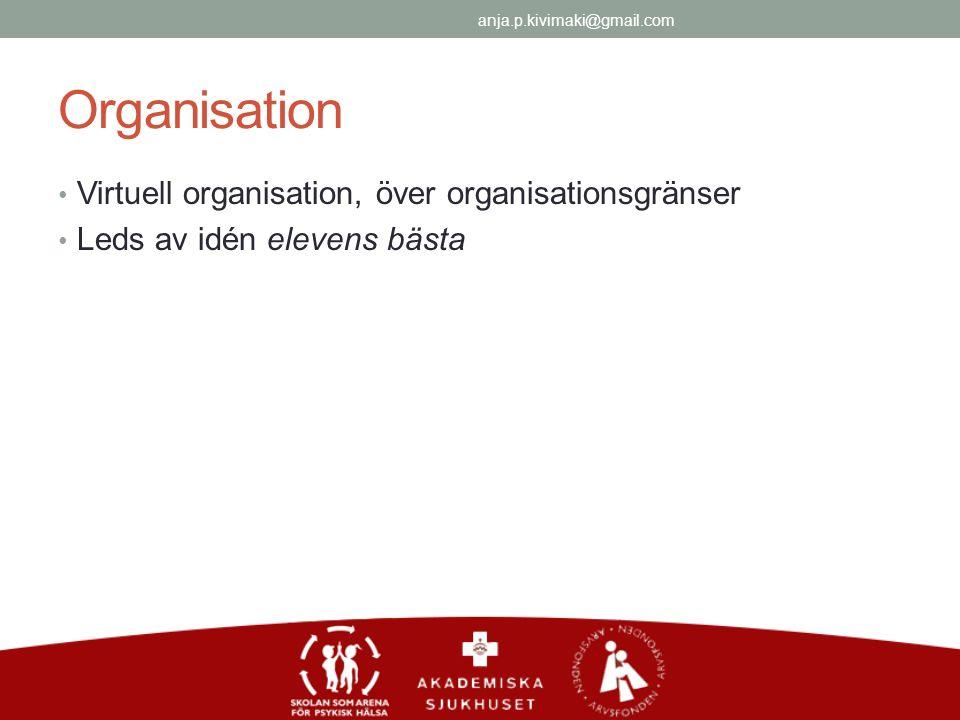 Organisation Virtuell organisation, över organisationsgränser Leds av idén elevens bästa anja.p.kivimaki@gmail.com