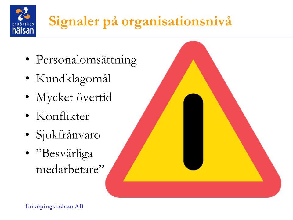 Signaler på organisationsnivå Personalomsättning Kundklagomål Mycket övertid Konflikter Sjukfrånvaro Besvärliga medarbetare