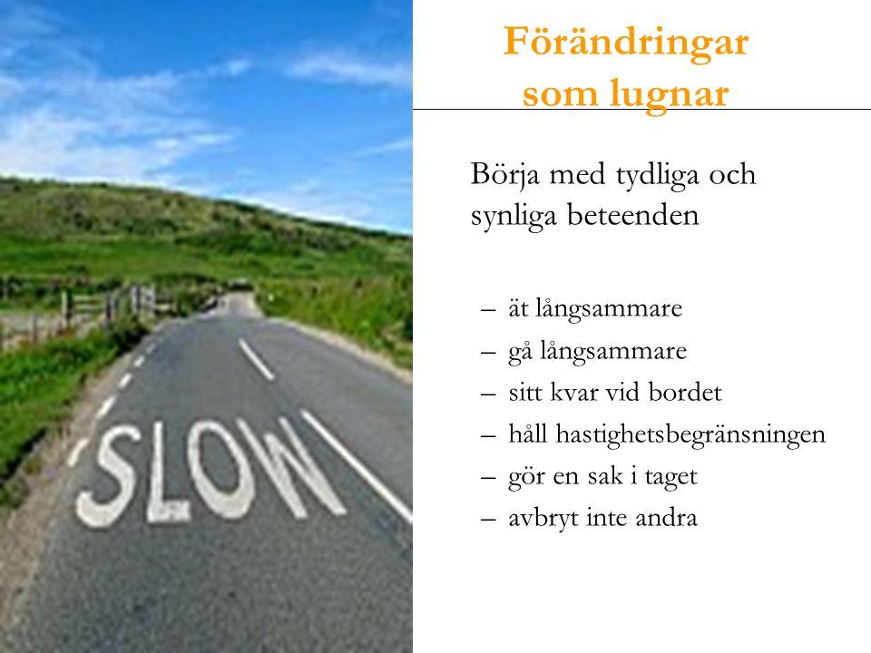 Enköpingshälsan AB Börja med tydliga och synliga beteenden –ät långsammare –gå långsammare –sitt kvar vid bordet –håll hastighetsbegränsningen –gör en sak i taget –avbryt inte andra Förändringar som lugnar