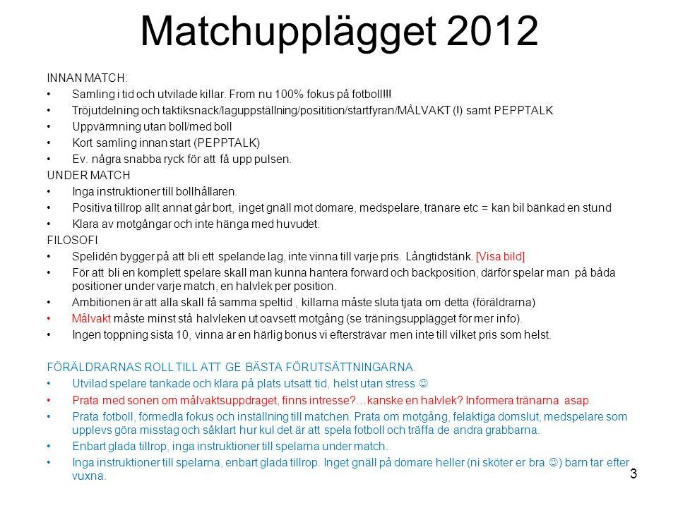 Matchupplägget 2012 INNAN MATCH: Samling i tid och utvilade killar. From nu 100% fokus på fotboll!!! Tröjutdelning och taktiksnack/laguppställning/pos
