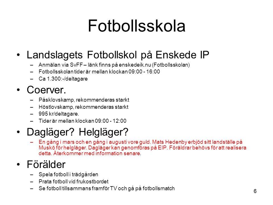 Fotbollsskola Landslagets Fotbollskol på Enskede IP –Anmälan via SvFF – länk finns på enskedeik.nu (Fotbollsskolan) –Fotbollsskolan tider är mellan klockan 09:00 - 16:00 –Ca 1.300:-/deltagare Coerver.