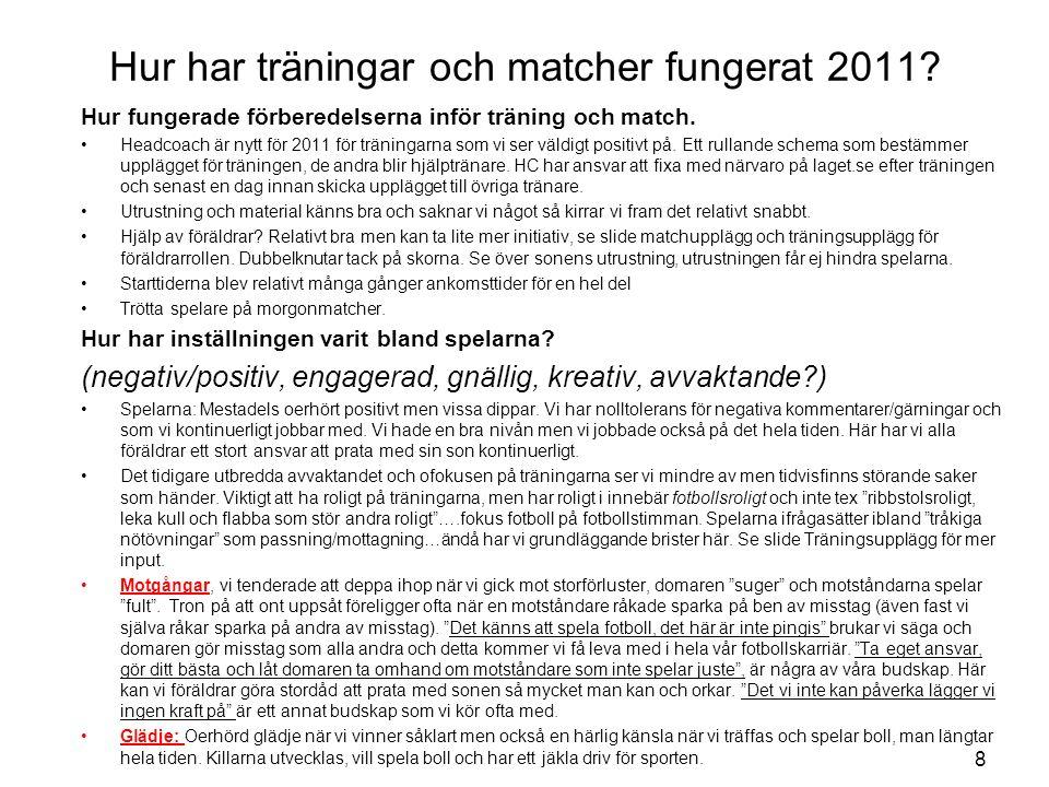 Hur har träningar och matcher fungerat 2011? Hur fungerade förberedelserna inför träning och match. Headcoach är nytt för 2011 för träningarna som vi