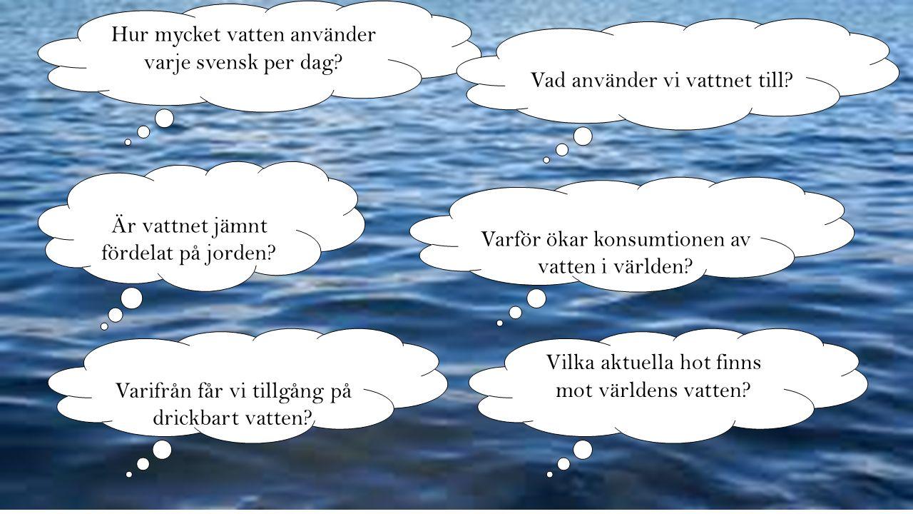 Varför ökar konsumtionen av vatten i världen? Är vattnet jämnt fördelat på jorden? Hur mycket vatten använder varje svensk per dag? Varifrån får vi ti