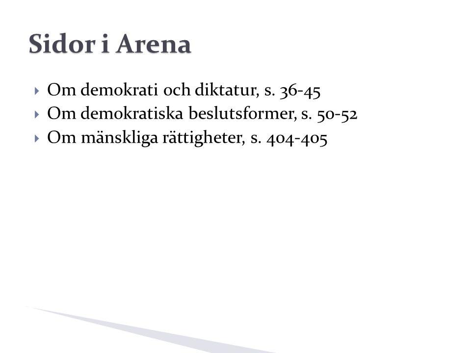 Sidor i Arena  Om demokrati och diktatur, s. 36-45  Om demokratiska beslutsformer, s.