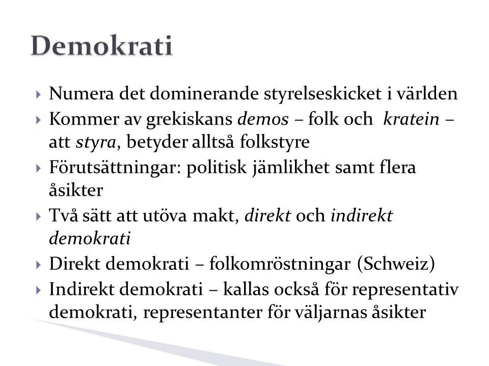  Numera det dominerande styrelseskicket i världen  Kommer av grekiskans demos – folk och kratein – att styra, betyder alltså folkstyre  Förutsättningar: politisk jämlikhet samt flera åsikter  Två sätt att utöva makt, direkt och indirekt demokrati  Direkt demokrati – folkomröstningar (Schweiz)  Indirekt demokrati – kallas också för representativ demokrati, representanter för väljarnas åsikter