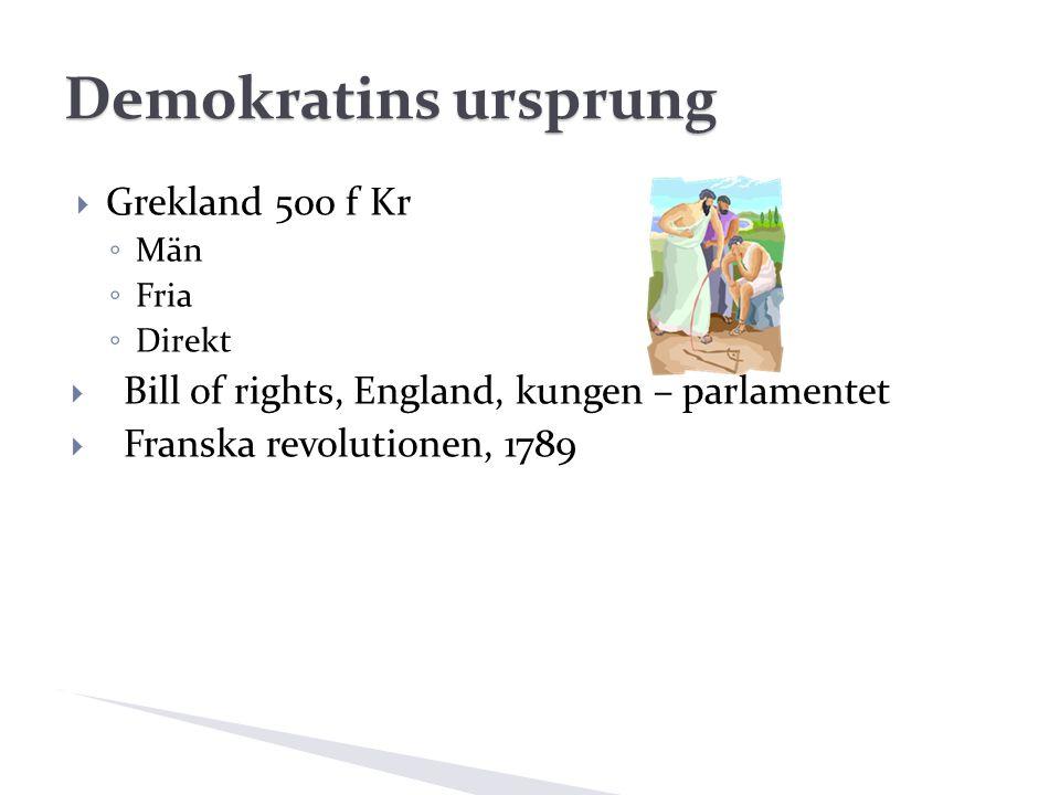 Demokratins ursprung  Grekland 500 f Kr ◦ Män ◦ Fria ◦ Direkt  Bill of rights, England, kungen – parlamentet  Franska revolutionen, 1789