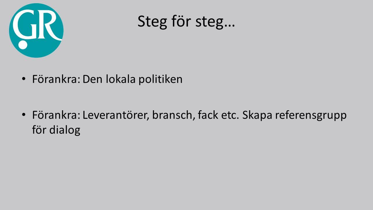 Steg för steg… Förankra: Den lokala politiken Förankra: Leverantörer, bransch, fack etc.