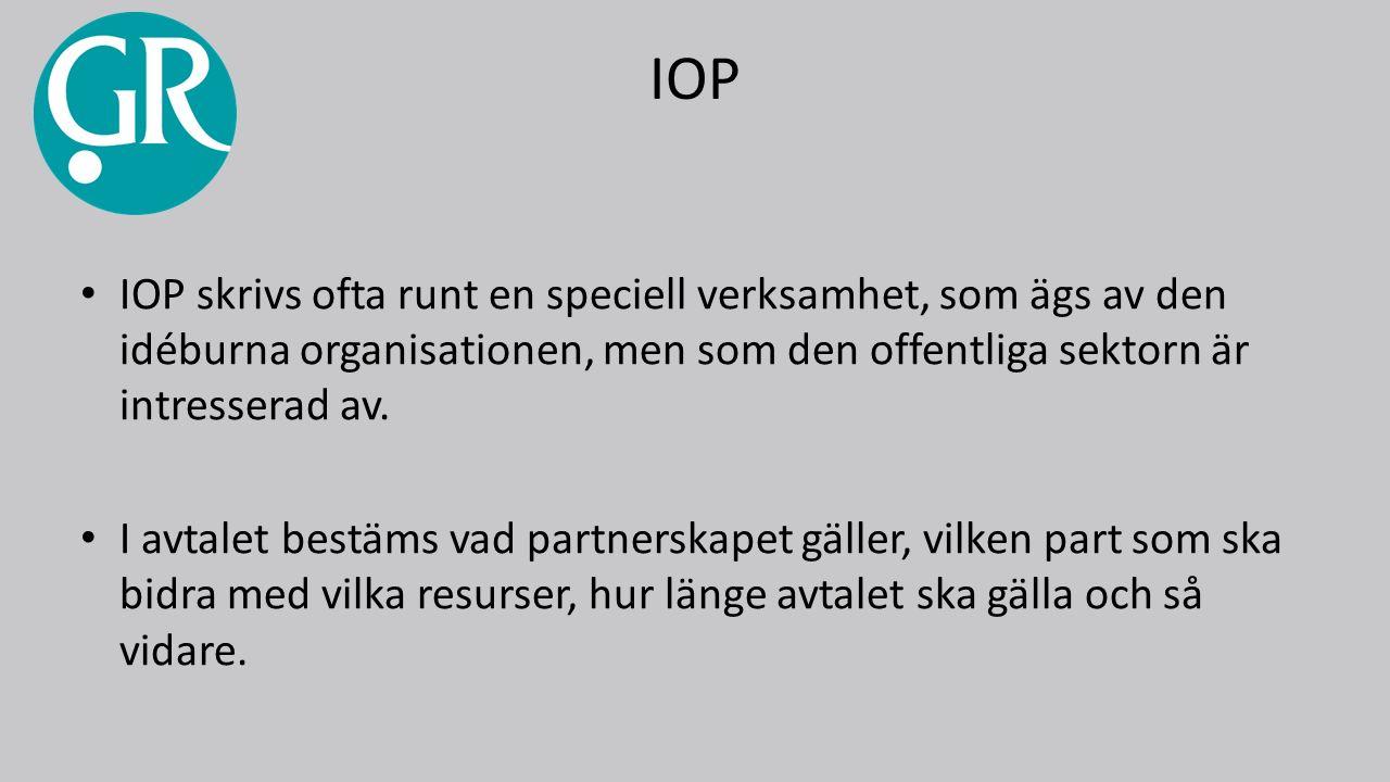 IOP IOP skrivs ofta runt en speciell verksamhet, som ägs av den idéburna organisationen, men som den offentliga sektorn är intresserad av.