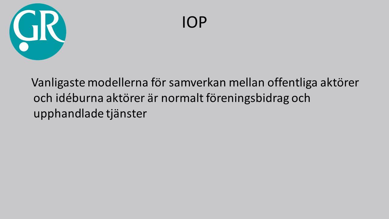 IOP Vanligaste modellerna för samverkan mellan offentliga aktörer och idéburna aktörer är normalt föreningsbidrag och upphandlade tjänster