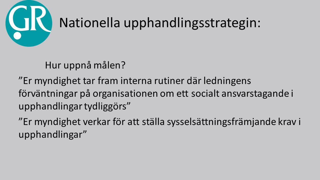 Nationella upphandlingsstrategin: Hur uppnå målen.