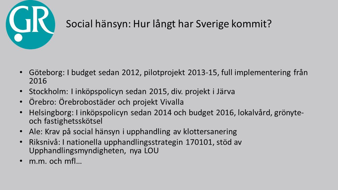 Social hänsyn: Hur långt har Sverige kommit.