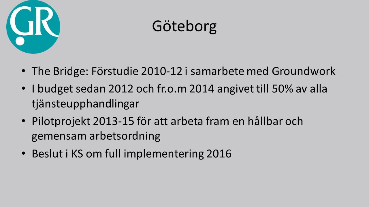 Göteborg The Bridge: Förstudie 2010-12 i samarbete med Groundwork I budget sedan 2012 och fr.o.m 2014 angivet till 50% av alla tjänsteupphandlingar Pilotprojekt 2013-15 för att arbeta fram en hållbar och gemensam arbetsordning Beslut i KS om full implementering 2016